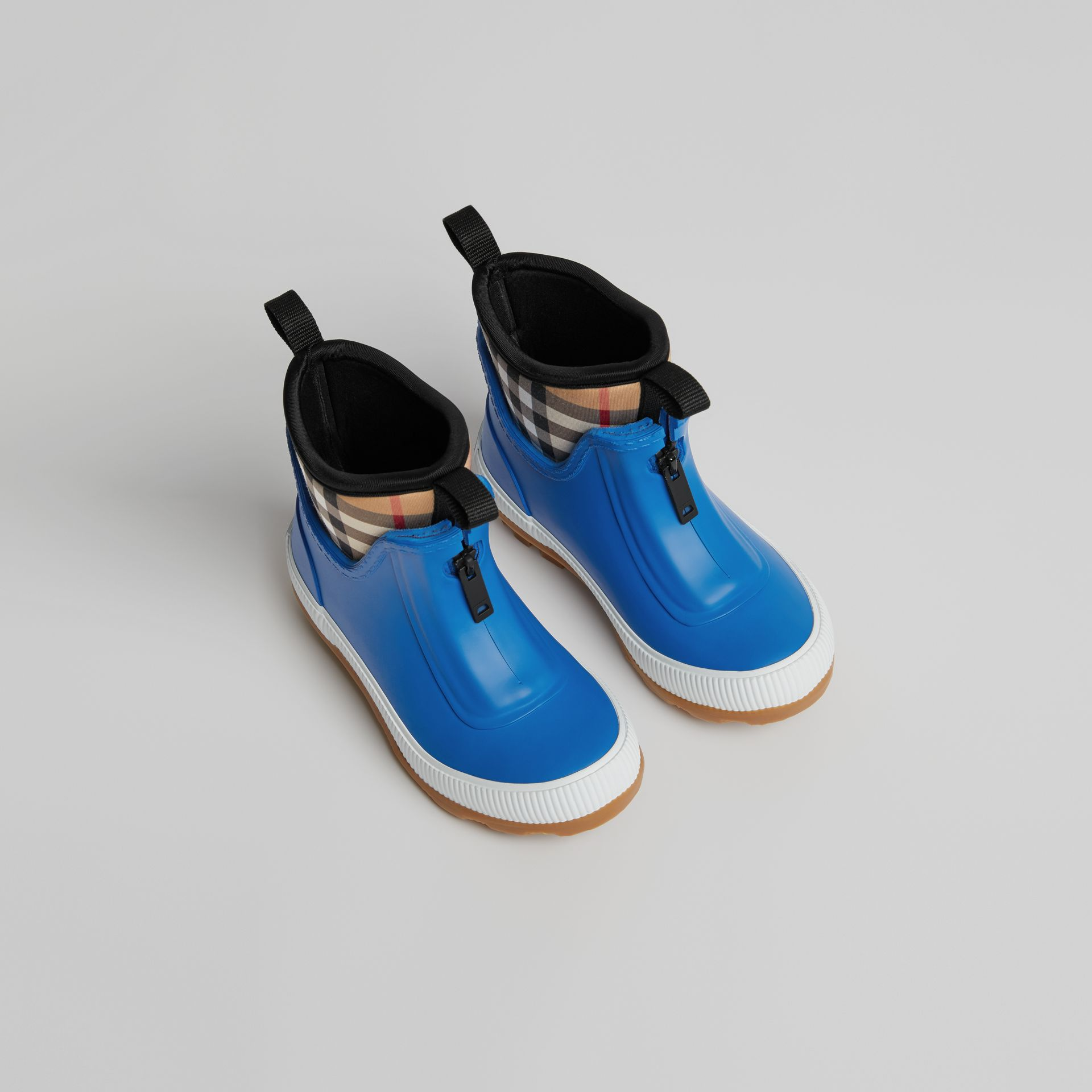 Vintage Check Neoprene and Rubber Rain Boots in Bright Canvas Blue | Burberry - gallery image 0