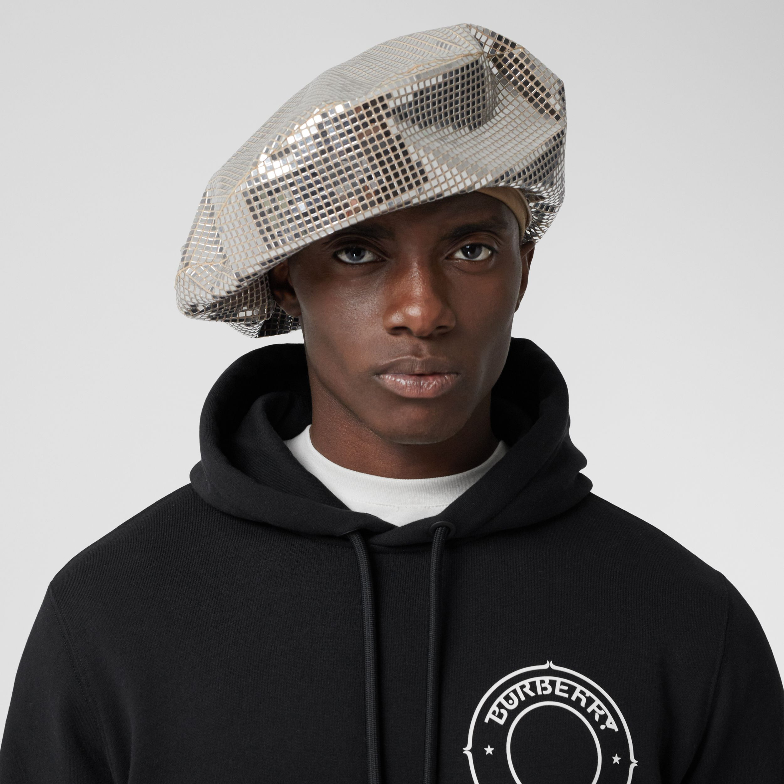 Mirrored Stretch Jersey Oversized Beret in Silver | Burberry - 4