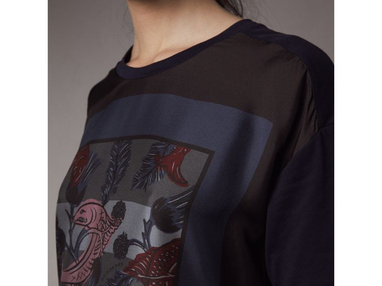 Beasts Print Silk Panel Cotton T-shirt in True Navy - Women | Burberry - cell image 1