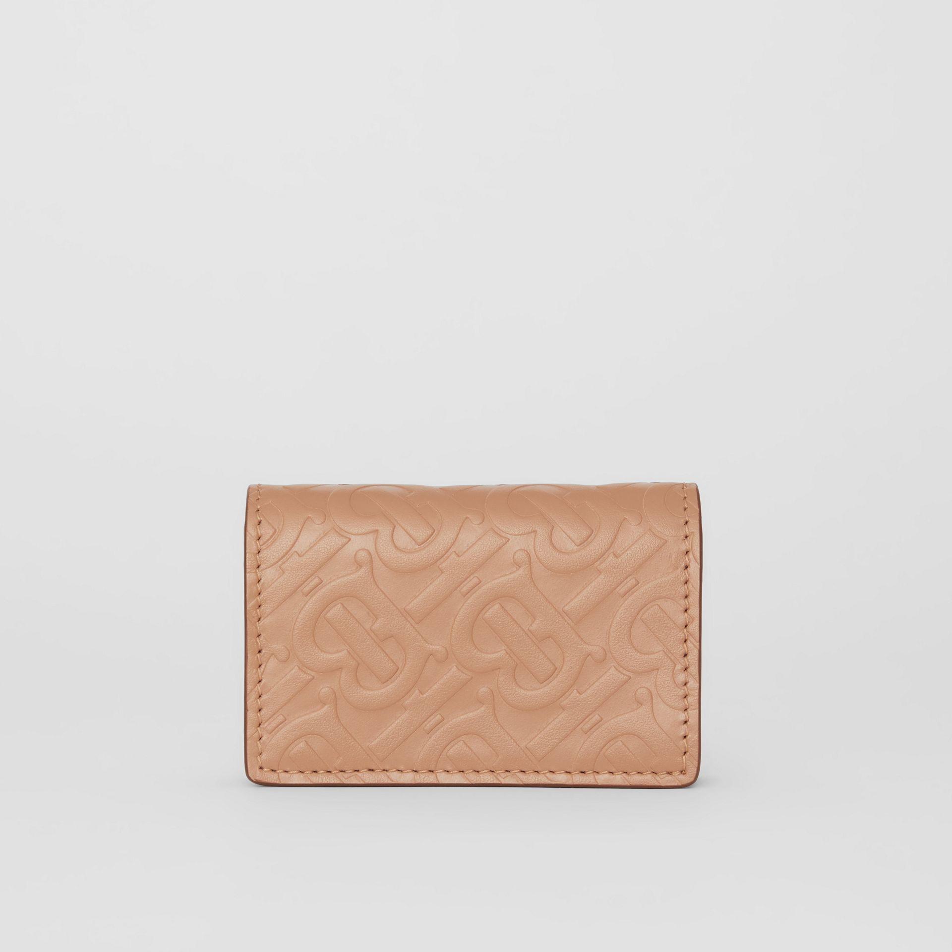Monogram Leather Card Case in Light Camel - Women | Burberry - gallery image 4
