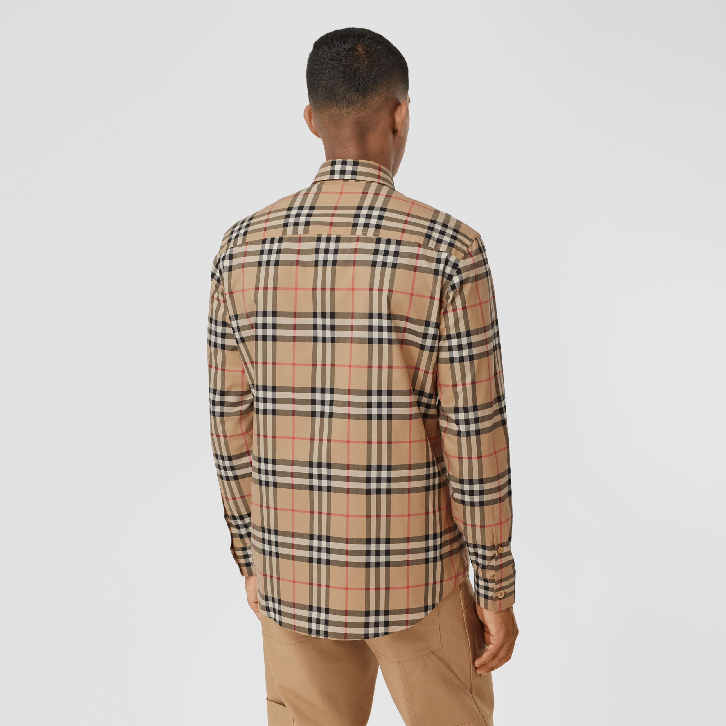Logo Print Vintage Check Cotton Poplin Shirt in Archive Beige - Men | Burberry - 3