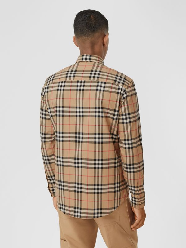 Logo Print Vintage Check Cotton Poplin Shirt in Archive Beige - Men | Burberry - cell image 2