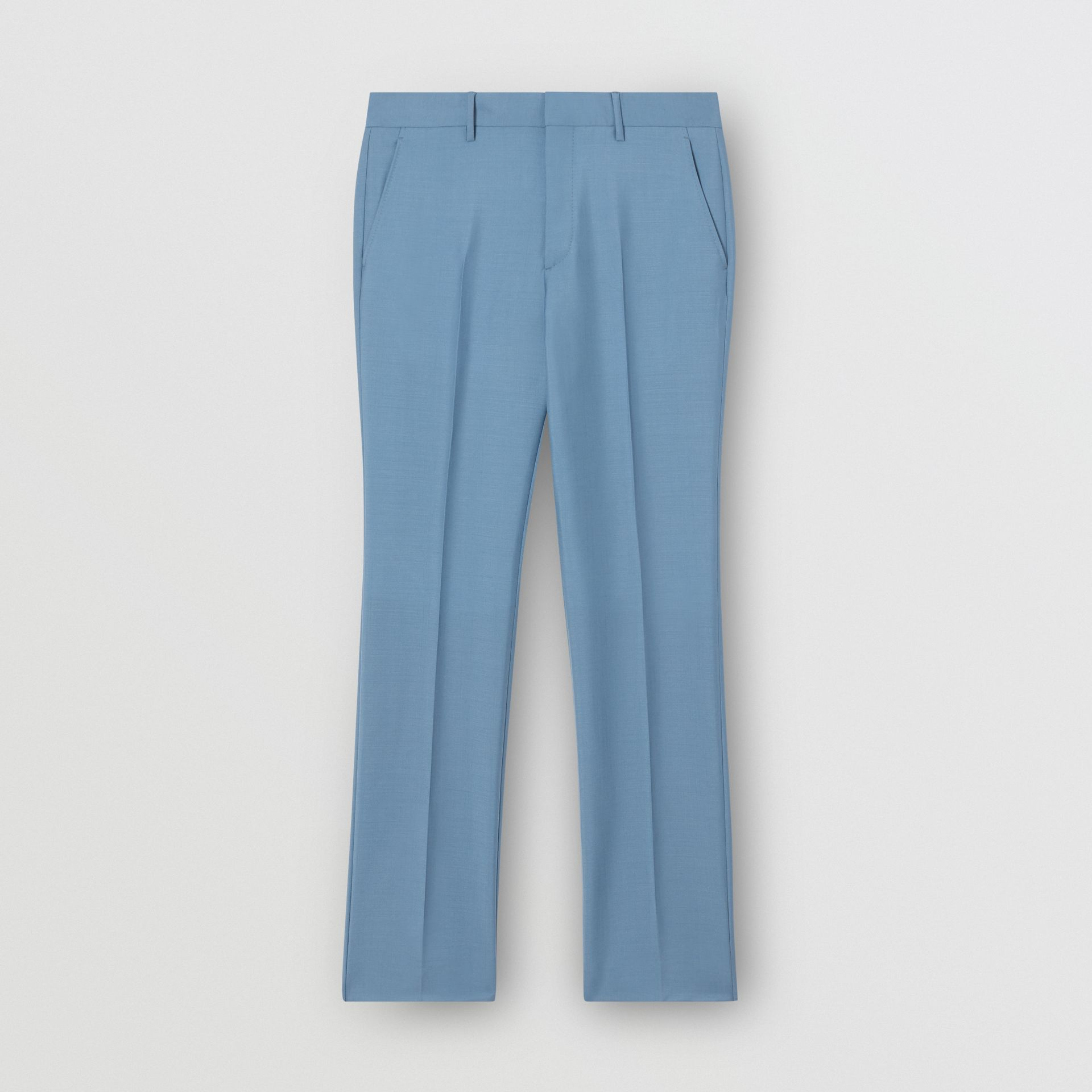 Classic Fit Mohair Wool Tailored Trousers in Steel Blue - Men | Burberry - gallery image 3