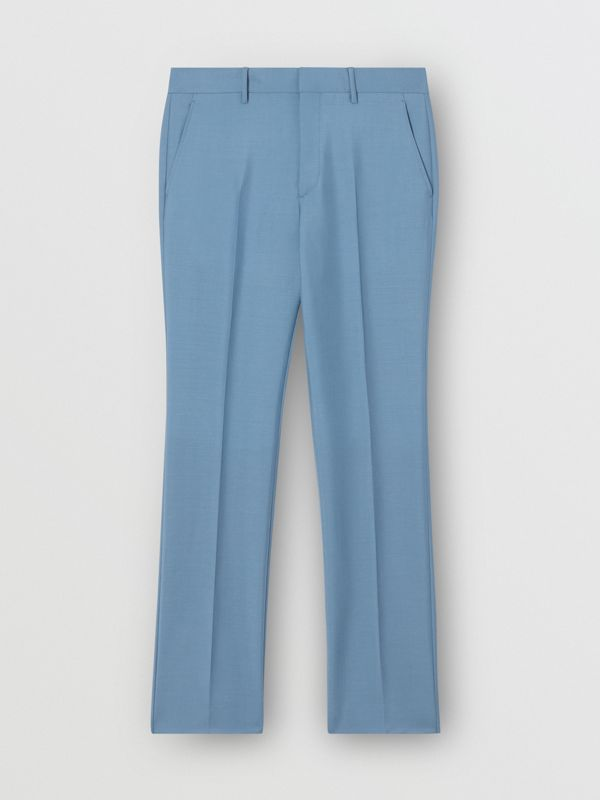 Classic Fit Mohair Wool Tailored Trousers in Steel Blue - Men | Burberry - cell image 3
