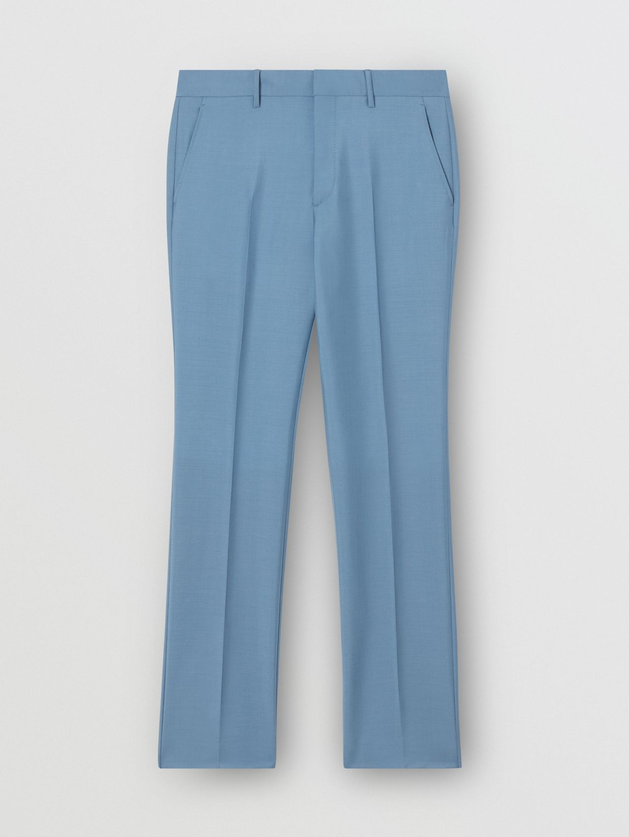 Classic Fit Mohair Wool Tailored Trousers in Steel Blue