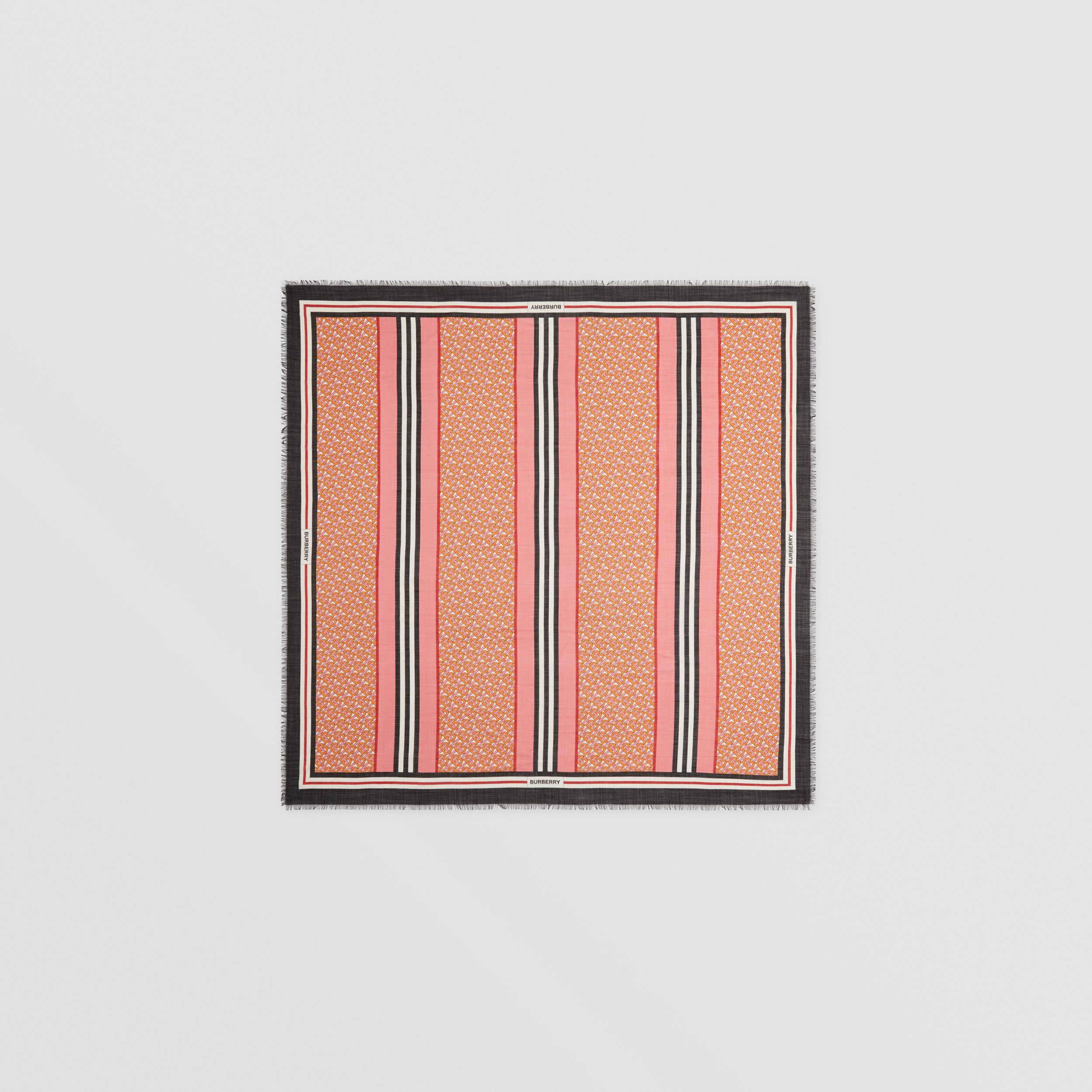 Icon Stripe Monogram Print Wool Silk Square Large Scarf in Camellia Pink | Burberry - 1