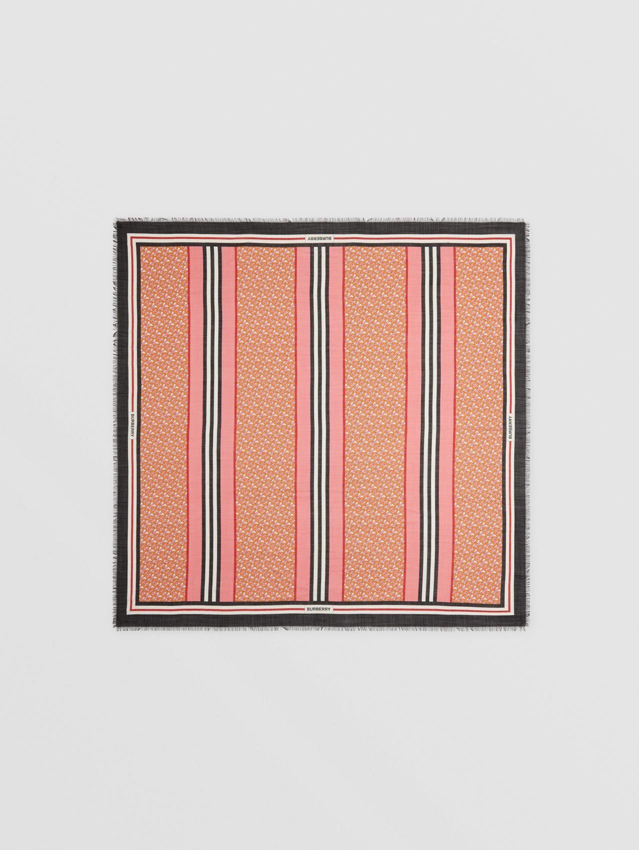 Icon Stripe Monogram Print Wool Silk Square Large Scarf in Camellia Pink