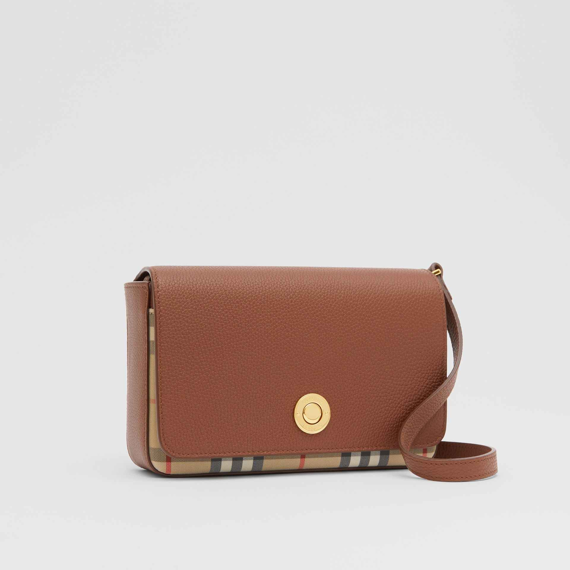 Small Leather and Vintage Check Crossbody Bag in Tan - Women | Burberry United Kingdom - gallery image 4