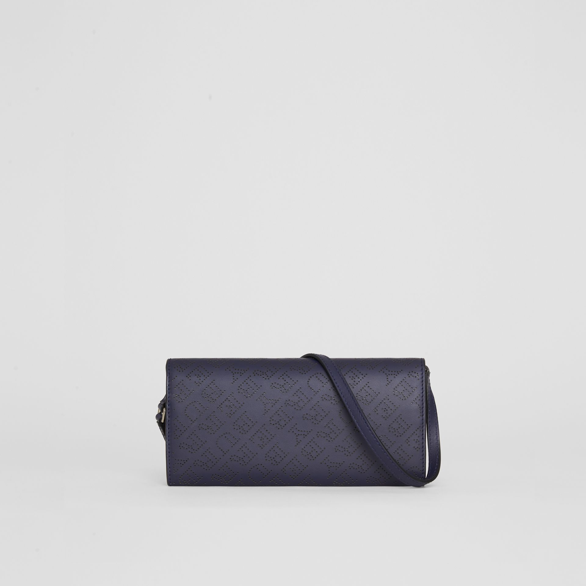Perforated Logo Leather Wallet with Detachable Strap in Navy - Women | Burberry - gallery image 7