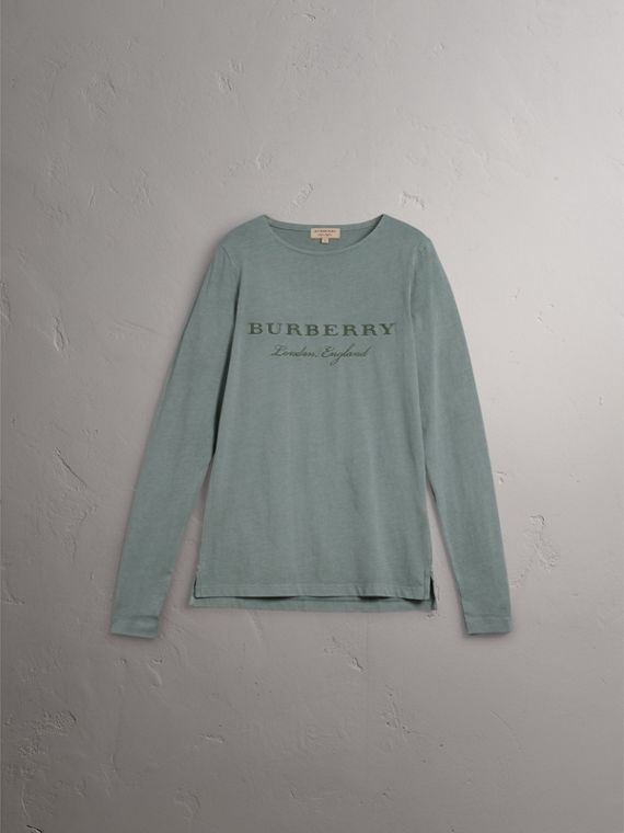 Long-sleeve Embroidered Cotton Top in Cyan Green