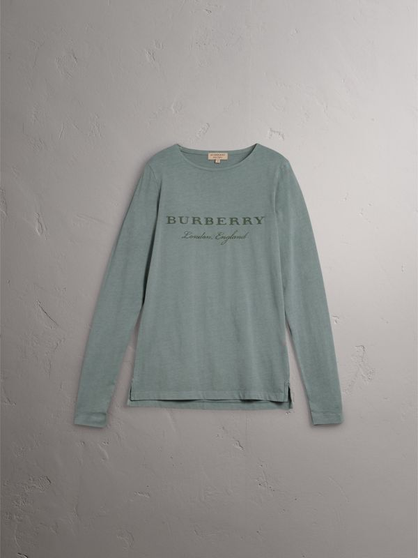 Long-sleeve Embroidered Cotton Top in Cyan Green - Men | Burberry - cell image 3