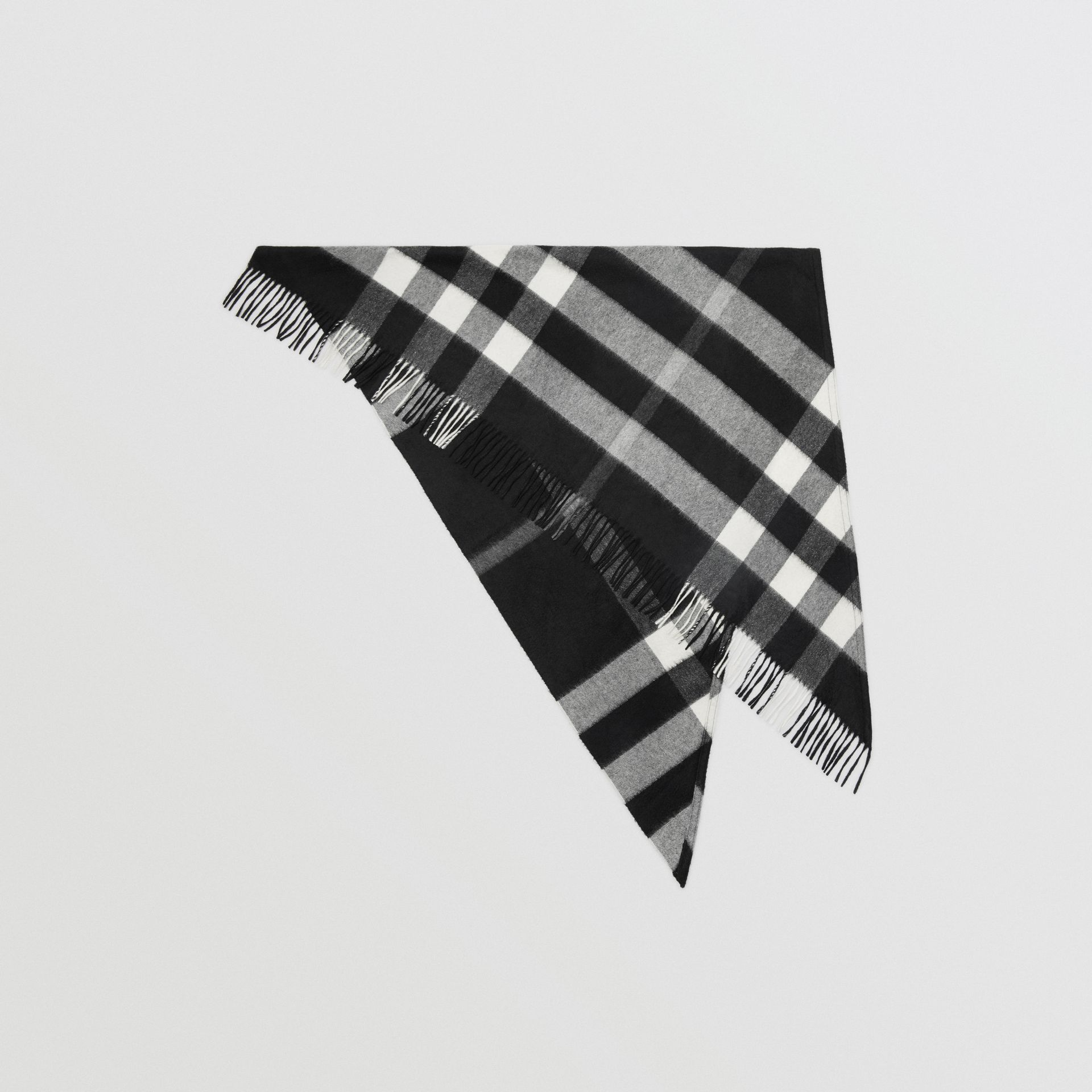 The Burberry Bandana in Check Cashmere in Black | Burberry United Kingdom - gallery image 0