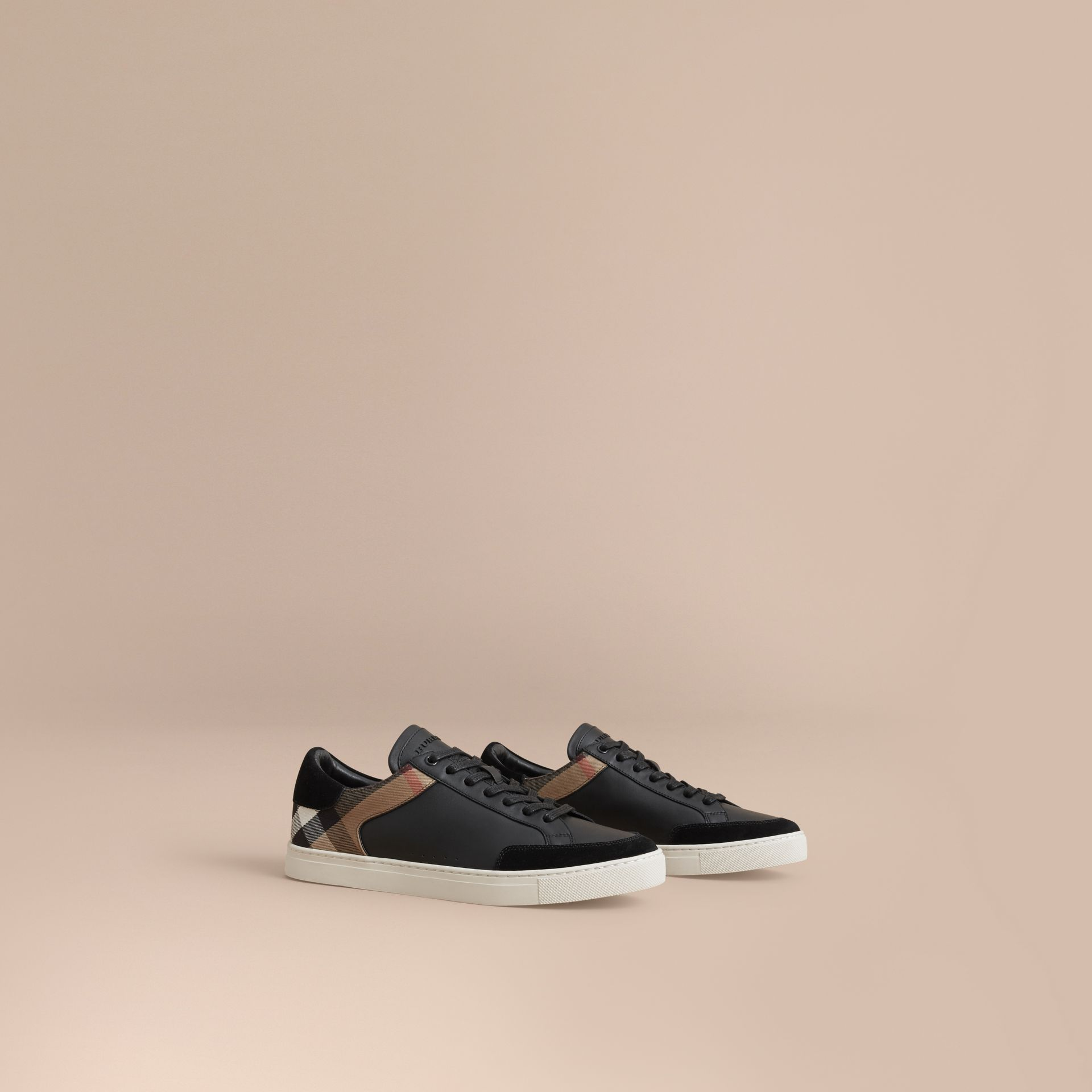 Leather and House Check Trainers in Black - gallery image 1