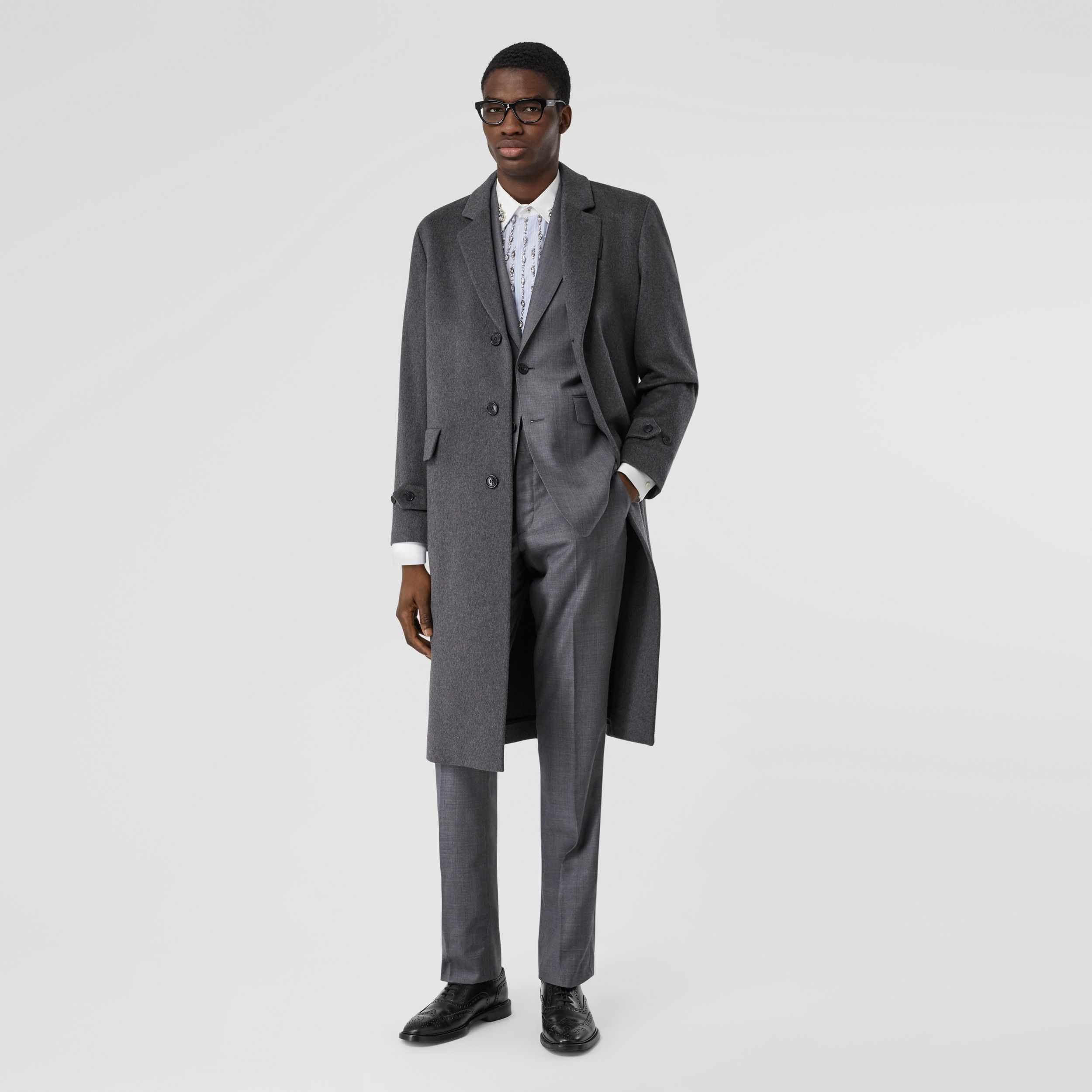 Cashmere Lab Coat in Pewter Melange - Men | Burberry Hong Kong S.A.R - 1