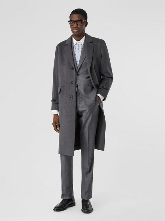 喀什米爾實驗服風格大衣 (混合藍灰色)