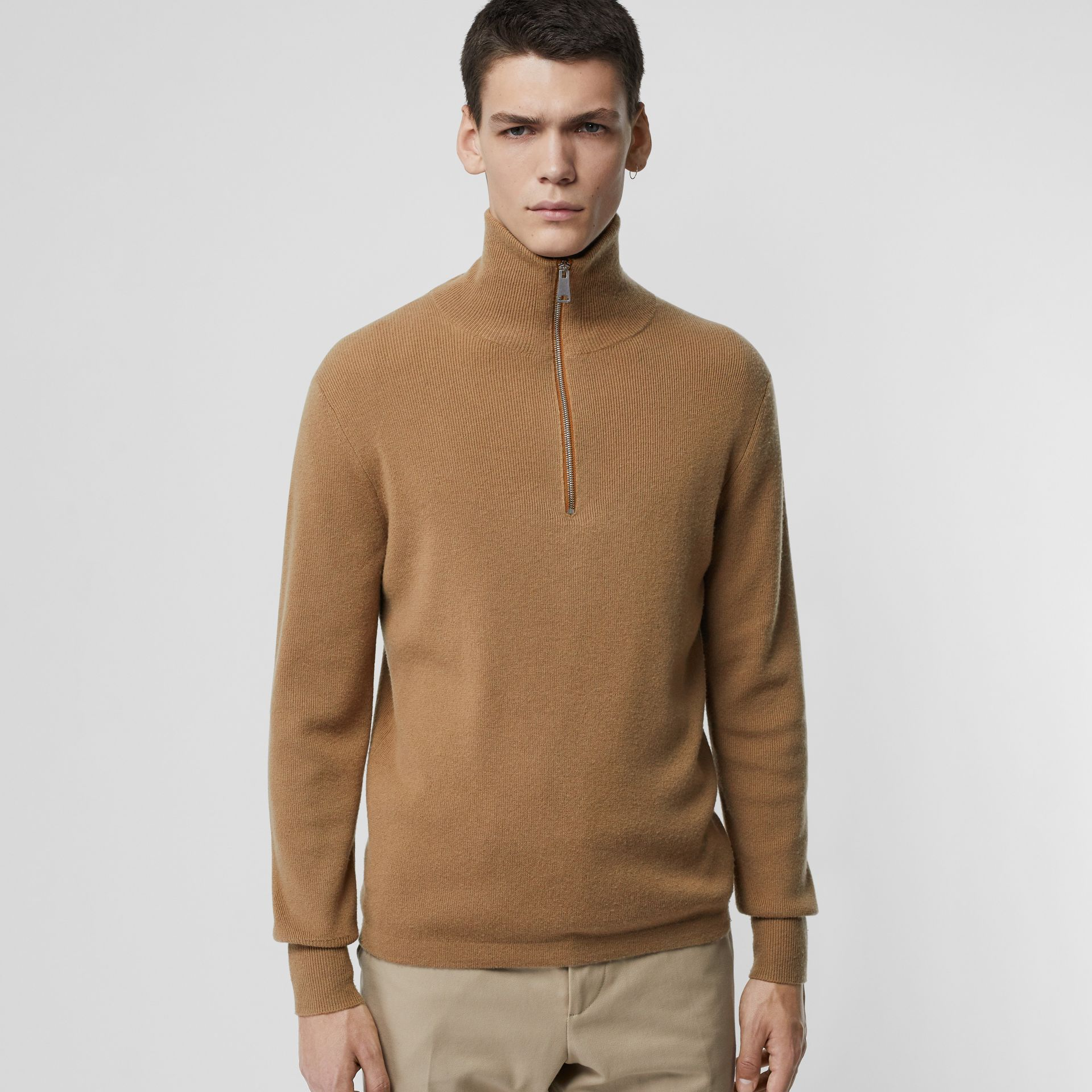 Rib Knit Cashmere Half-zip Sweater in Camel - Men | Burberry United Kingdom - gallery image 0