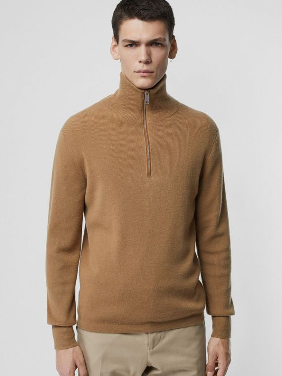 Rib Knit Cashmere Half-zip Sweater in Camel