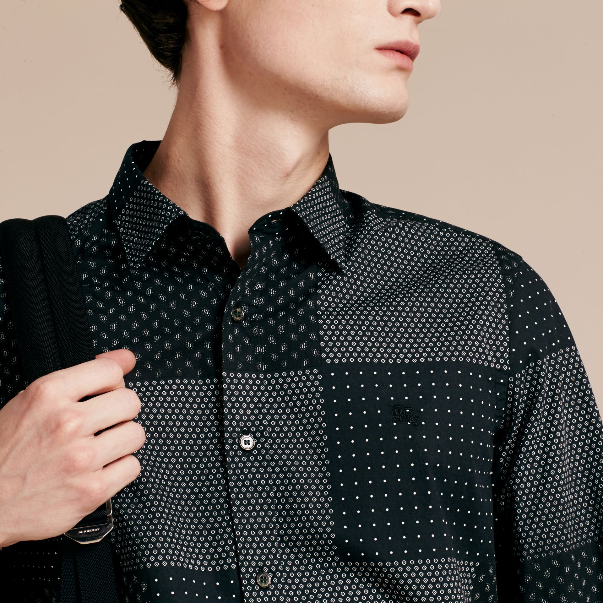 Black Patchwork Print Cotton Shirt Black - gallery image 5