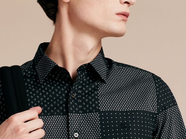 Black Patchwork Print Cotton Shirt Black - cell image 4