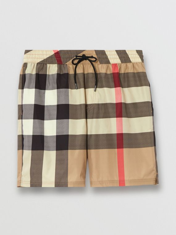 Check Drawcord Swim Shorts in Archive Beige