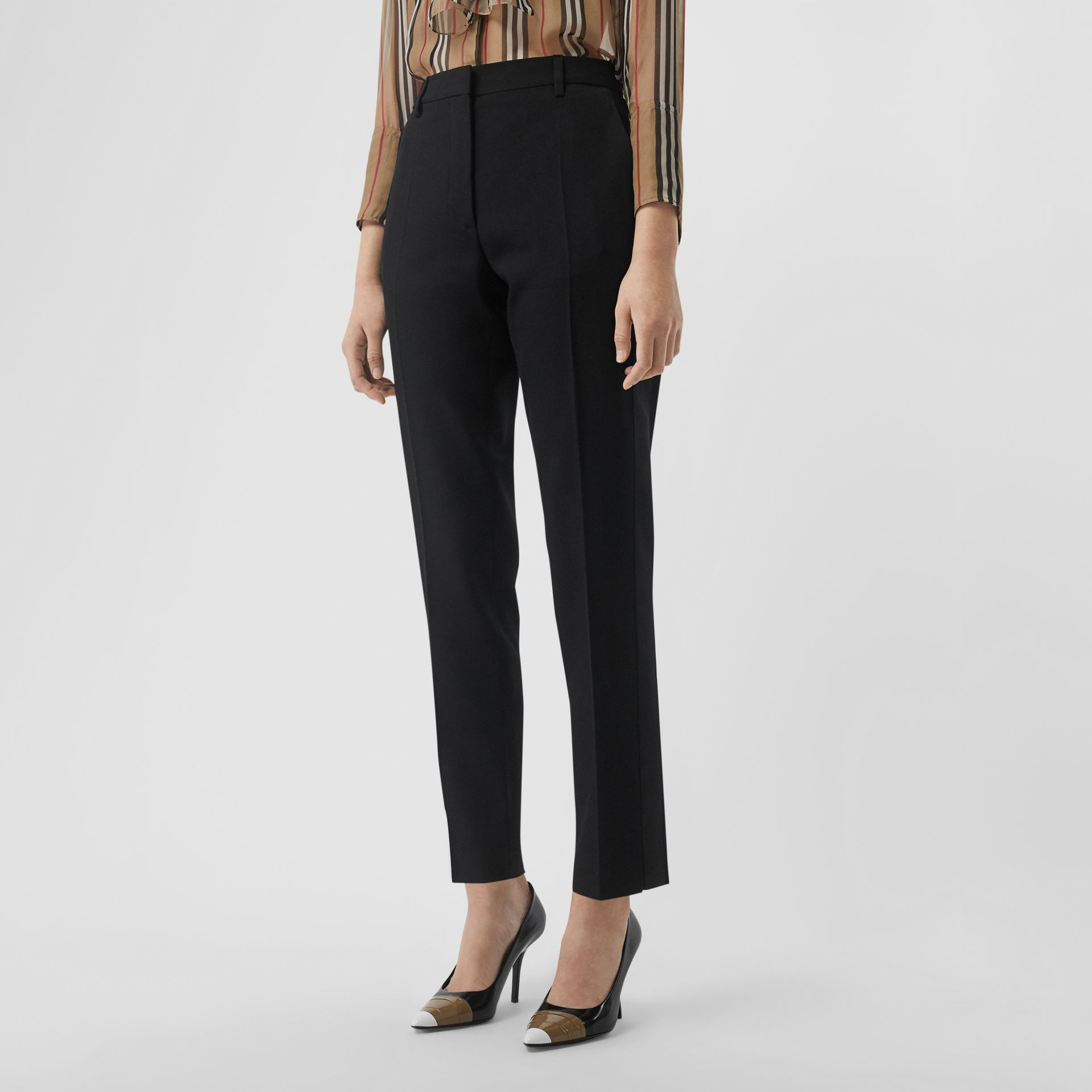 Satin Stripe Wool Silk Tailored Trousers in Black - Women | Burberry - gallery image 0