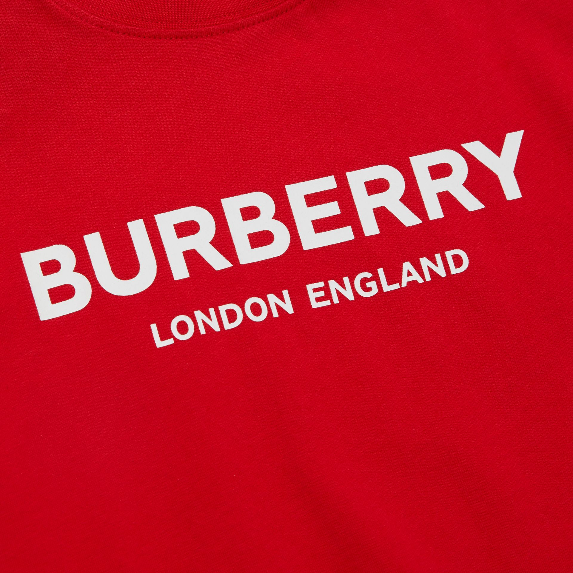 Logo Print Cotton T-shirt in Bright Red - Children | Burberry United Kingdom - gallery image 1