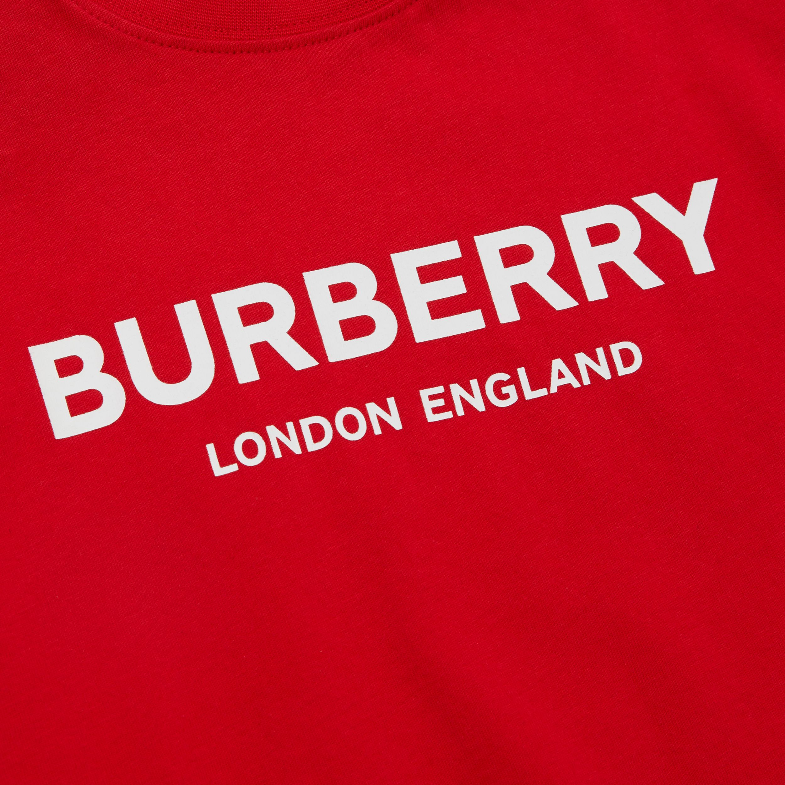 Logo Print Cotton T-shirt in Bright Red - Children | Burberry - 2