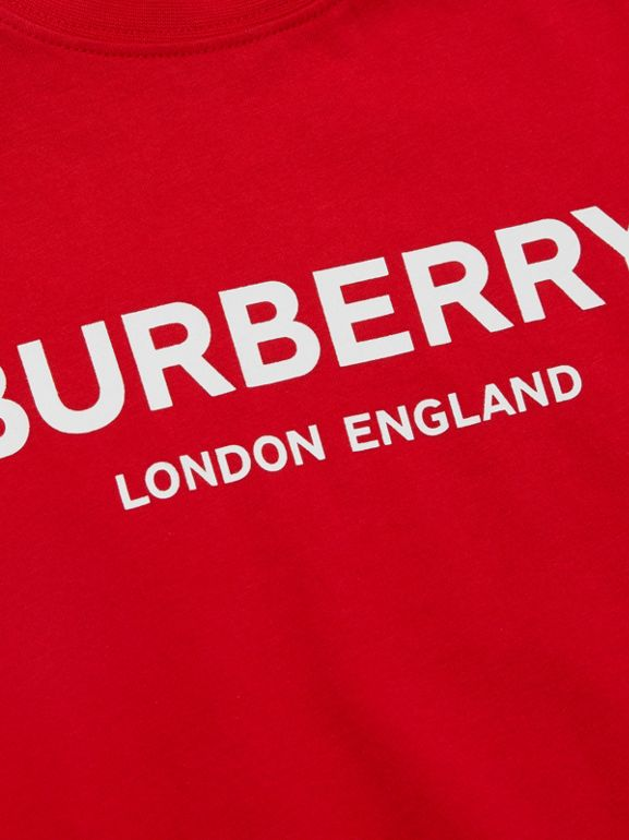 Logo Print Cotton T-shirt in Bright Red - Children | Burberry United Kingdom - cell image 1