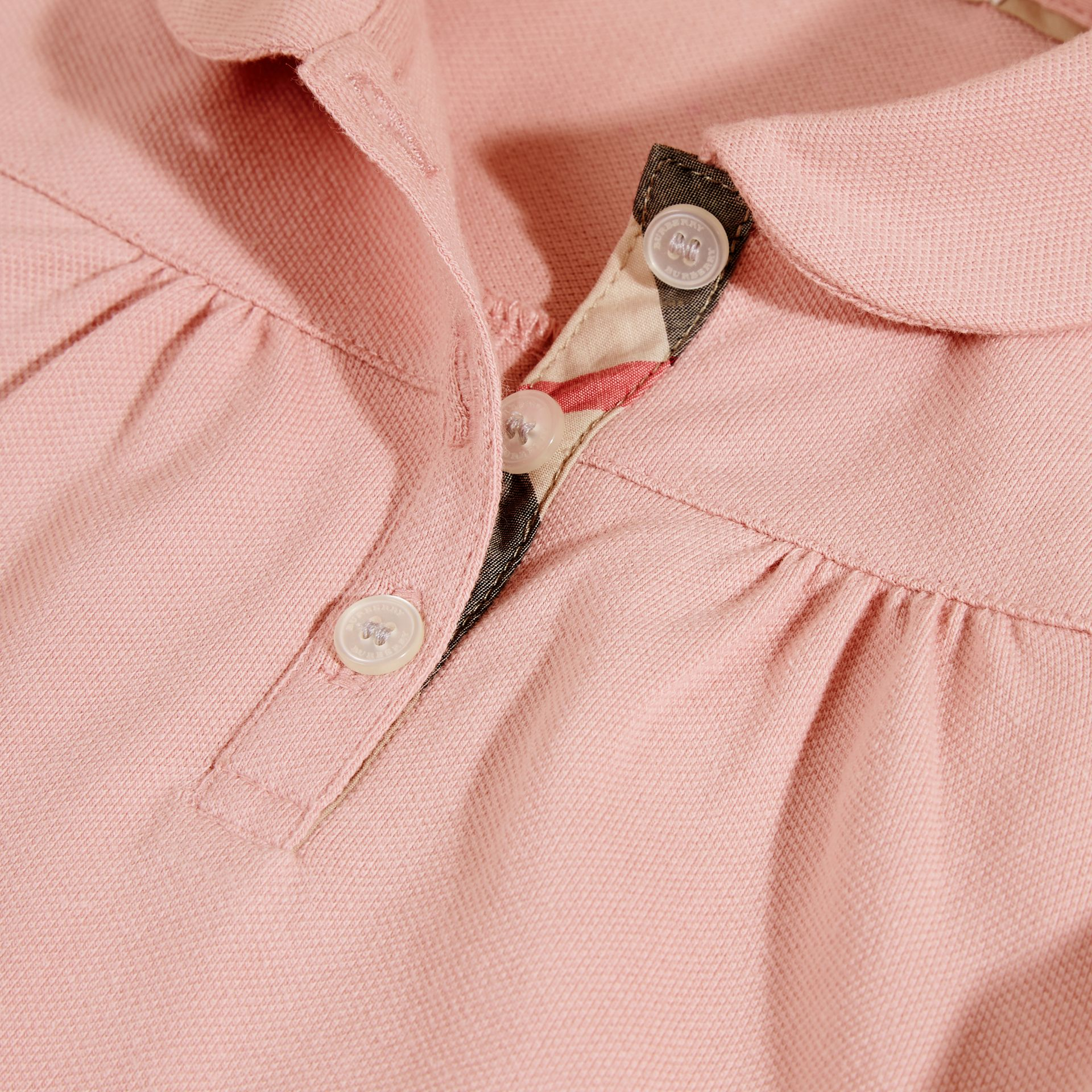 Ruched Detail Stretch Cotton Polo Shirt Ash Rose - gallery image 2