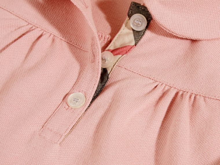 Ruched Detail Stretch Cotton Polo Shirt Ash Rose - cell image 1