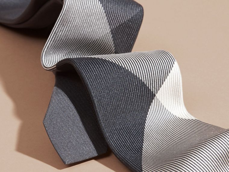 Mid grey Modern Cut Check Jacquard Silk Tie Mid Grey - cell image 1