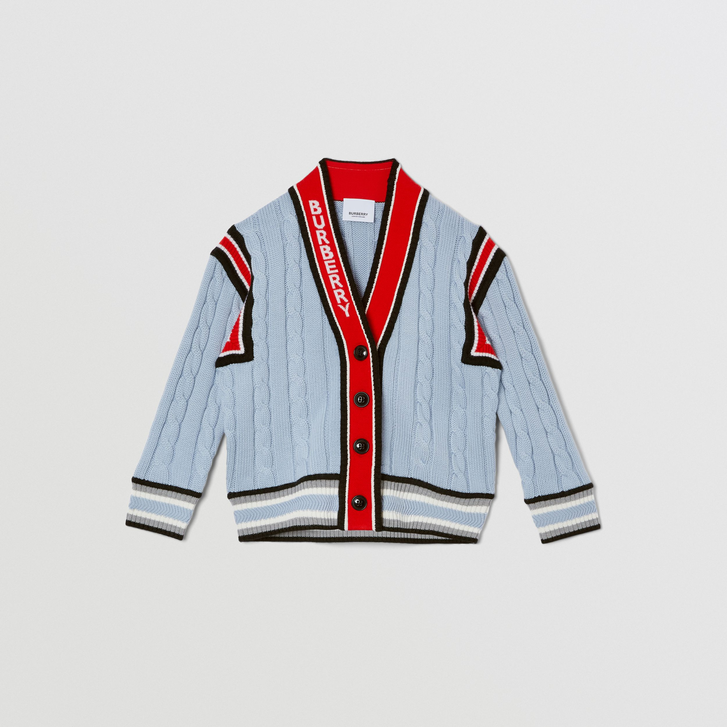 Logo Jacquard Cable Knit Merino Wool Cardigan in Light Blue | Burberry - 1