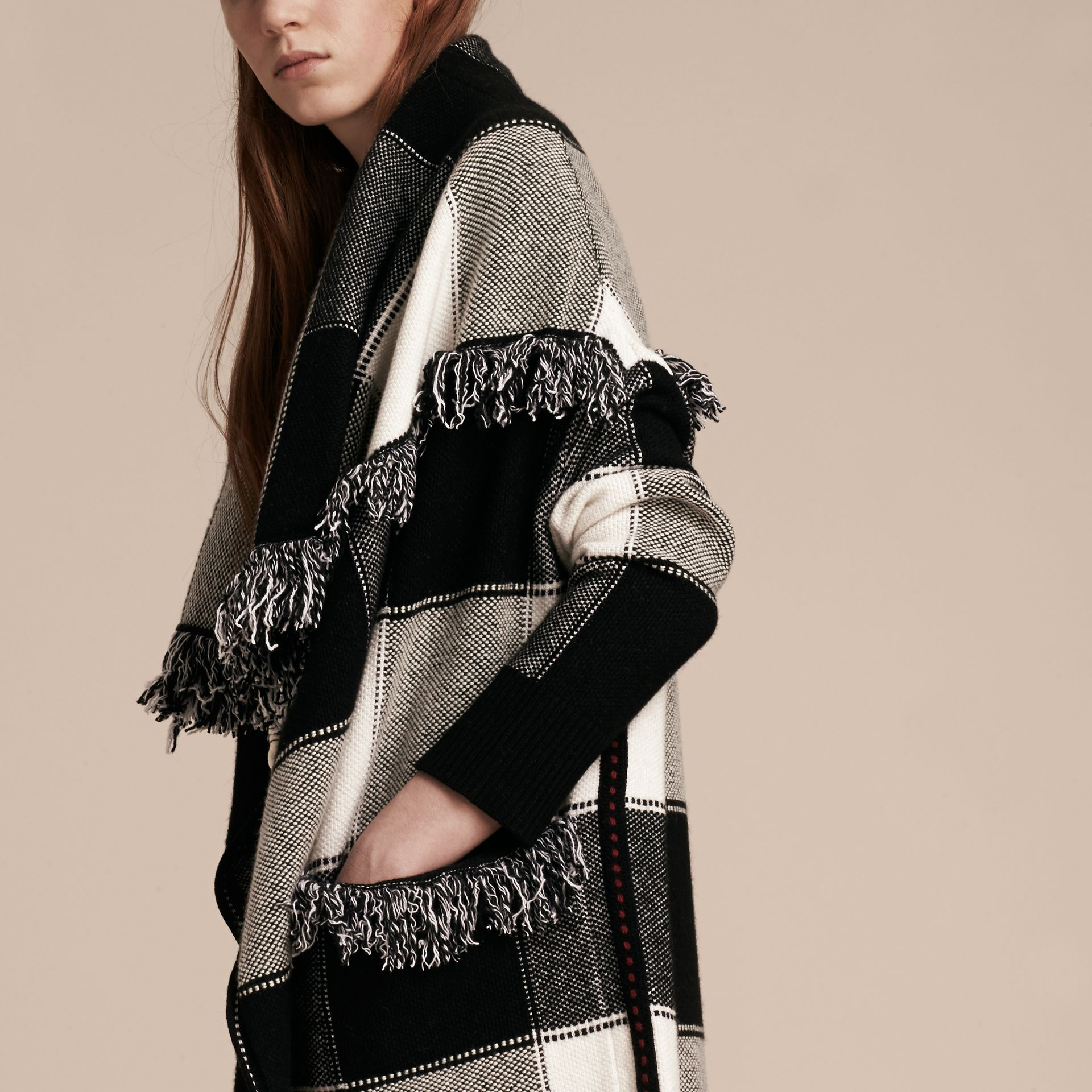 Black/white Check Wool Cashmere Knit Coat - gallery image 5