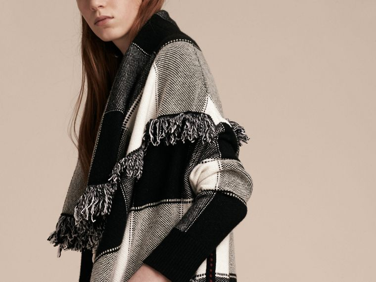 Black/white Check Wool Cashmere Knit Coat - cell image 4