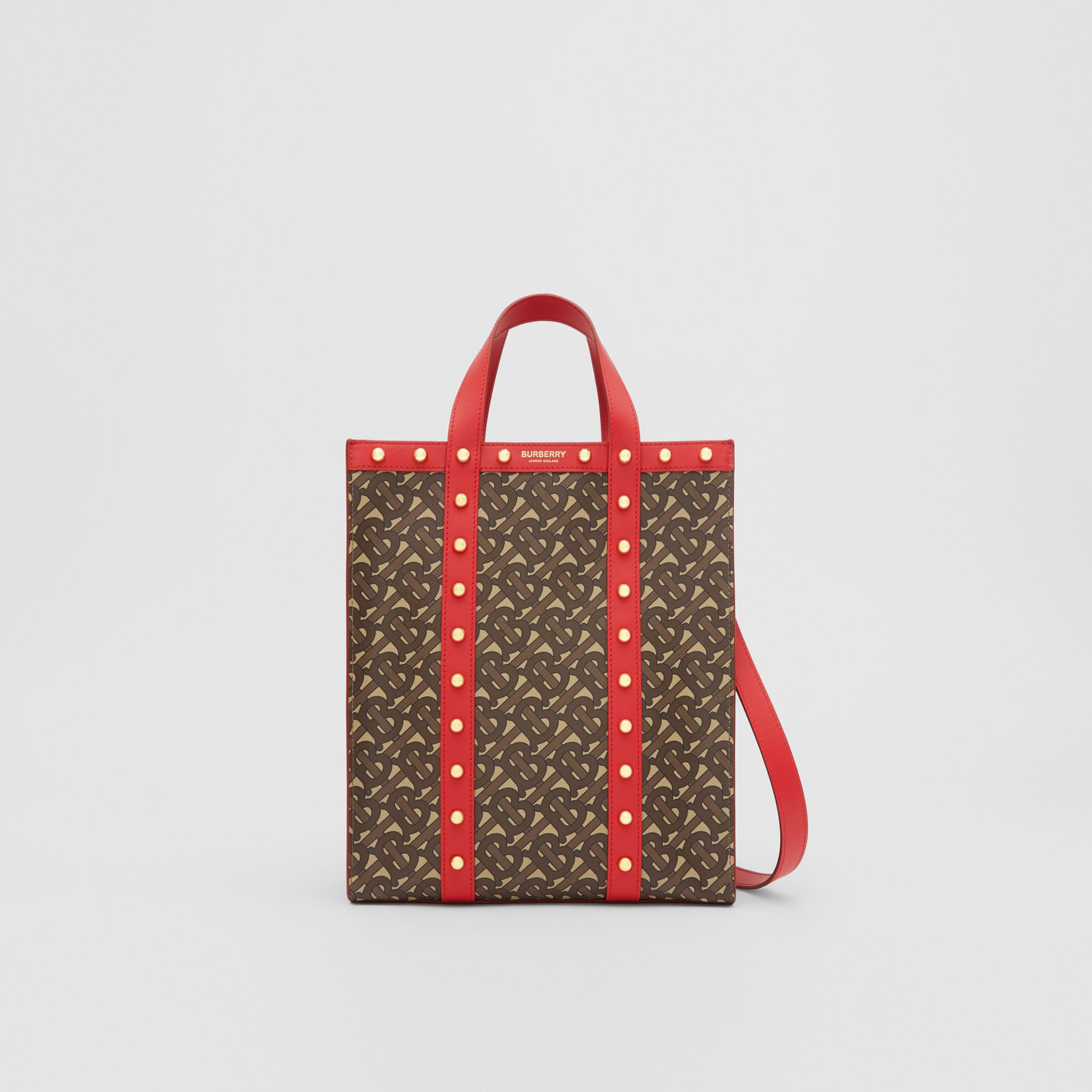 Small Monogram Print E-canvas Portrait Tote Bag in Bright Red - Women | Burberry - 1