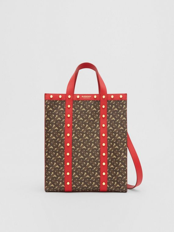 Small Monogram Print E-canvas Portrait Tote Bag in Bright Red