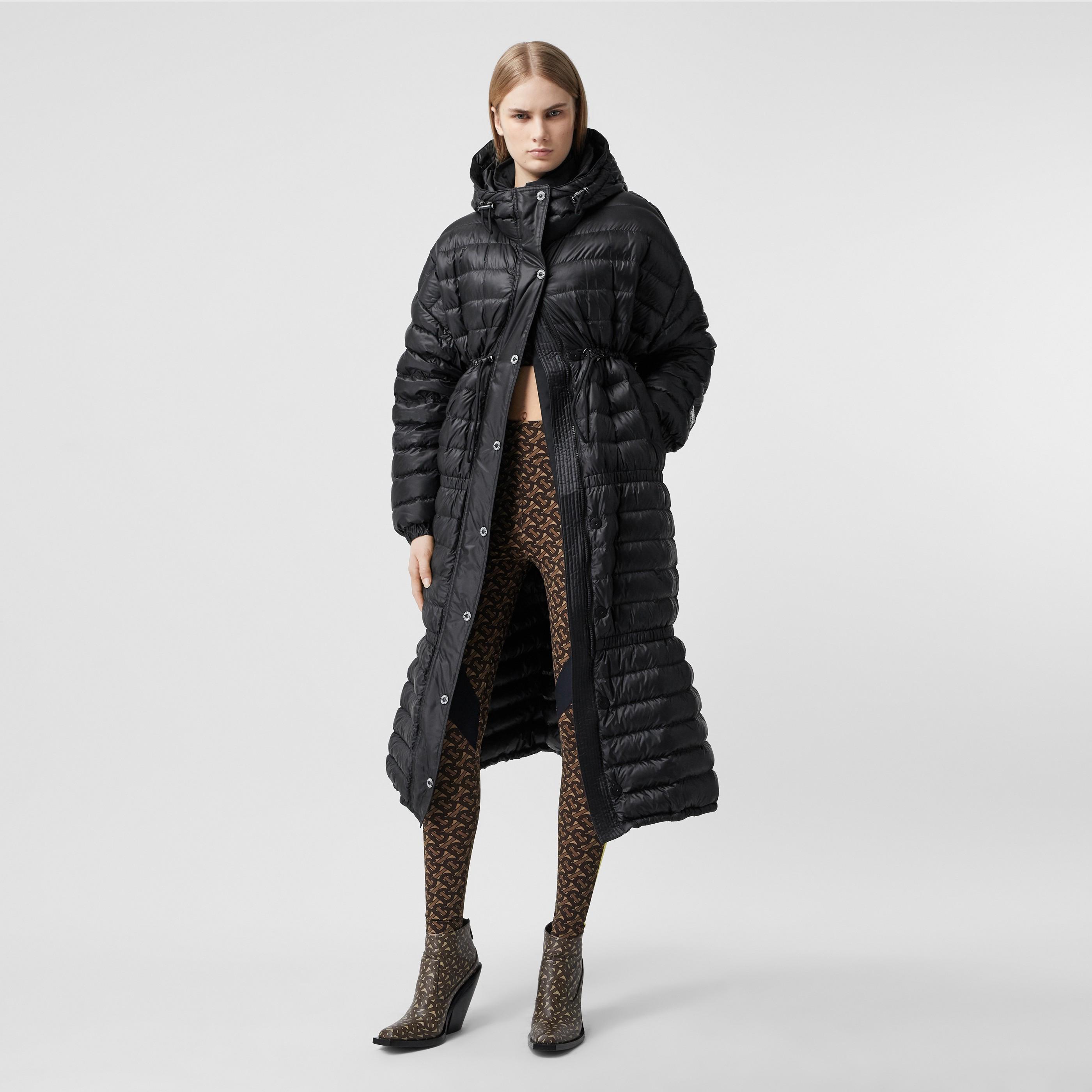 Piumino imbottito leggero con cappuccio con nastri con logo (Nero) - Donna | Burberry - 1