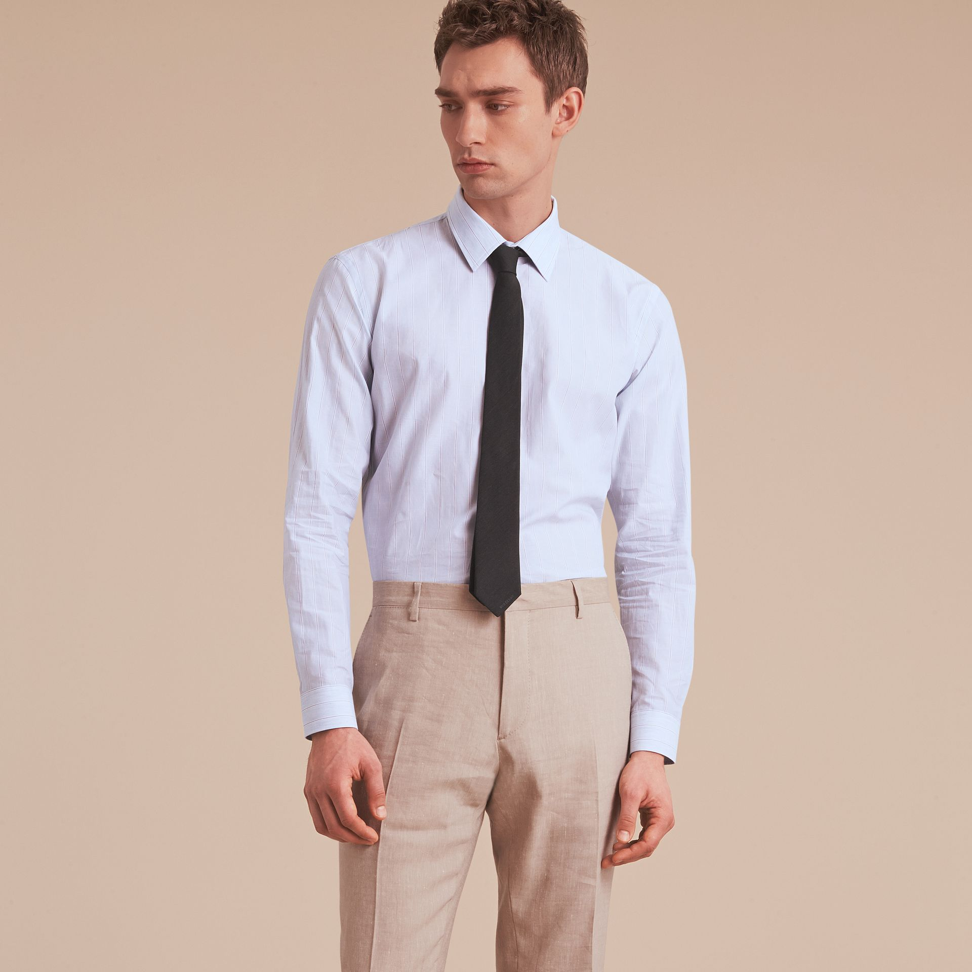 Modern Fit Cotton Linen Striped Shirt in Pale Opal Blue - Men | Burberry - gallery image 8