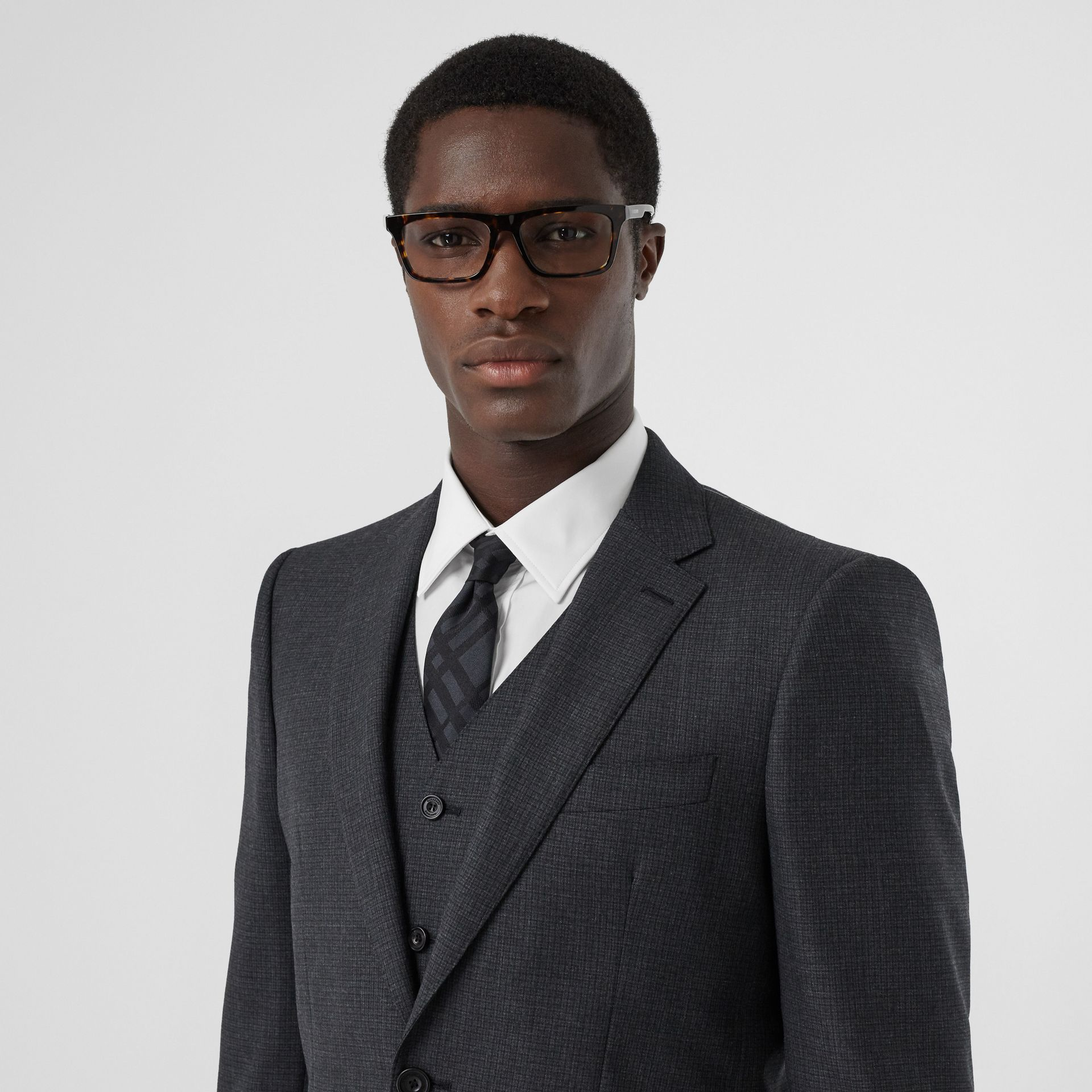 Classic Fit Windowpane Check Wool Three-piece Suit in Charcoal - Men | Burberry - gallery image 1