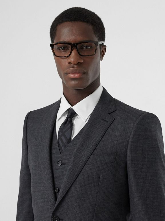 Classic Fit Windowpane Check Wool Three-piece Suit in Charcoal - Men | Burberry - cell image 1