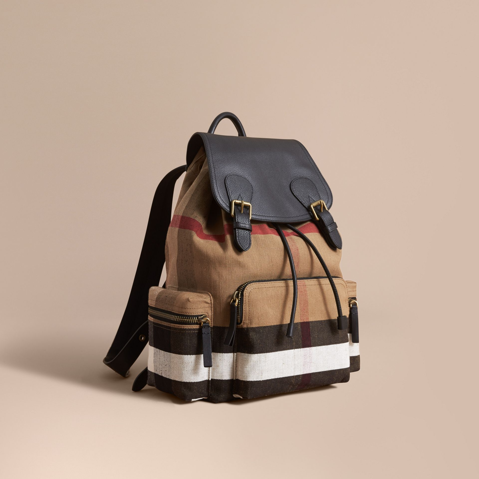 The Large Rucksack in Canvas Check and Leather in Classic - gallery image 1