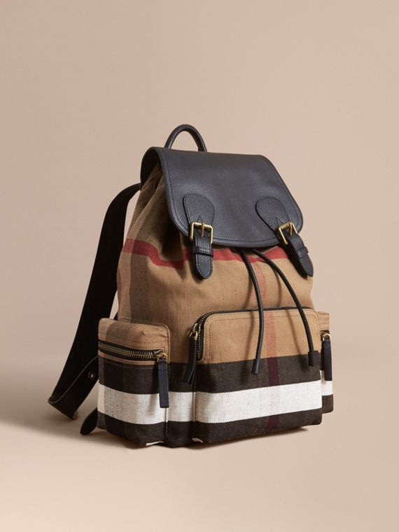 Zaino The Rucksack grande con motivo Canvas check e dettagli in pelle (Classic) - Uomo | Burberry