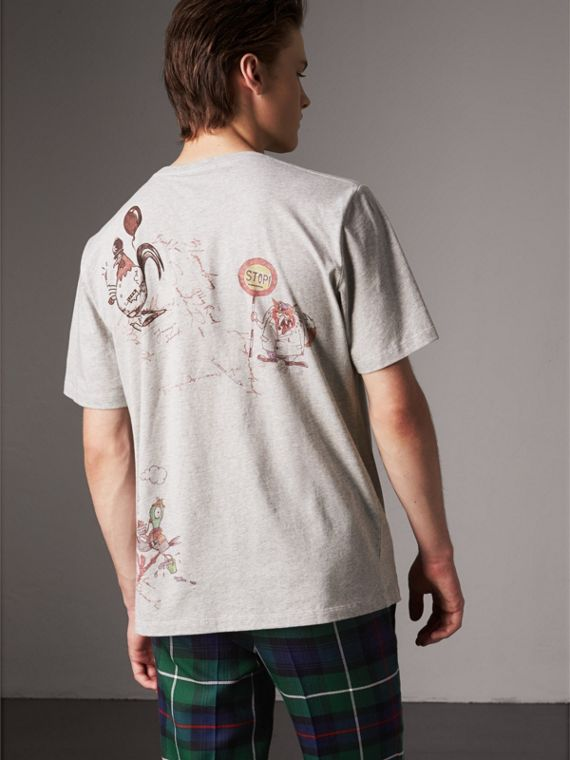 Sketch Print Cotton T-shirt in Pale Grey Melange - Men | Burberry United Kingdom - cell image 2