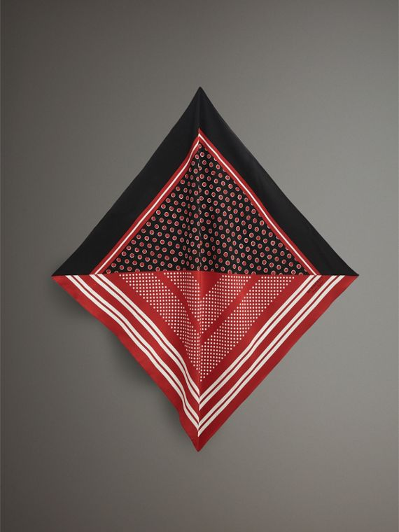 Dot and Stripe Print Silk Square Scarf in Military Red