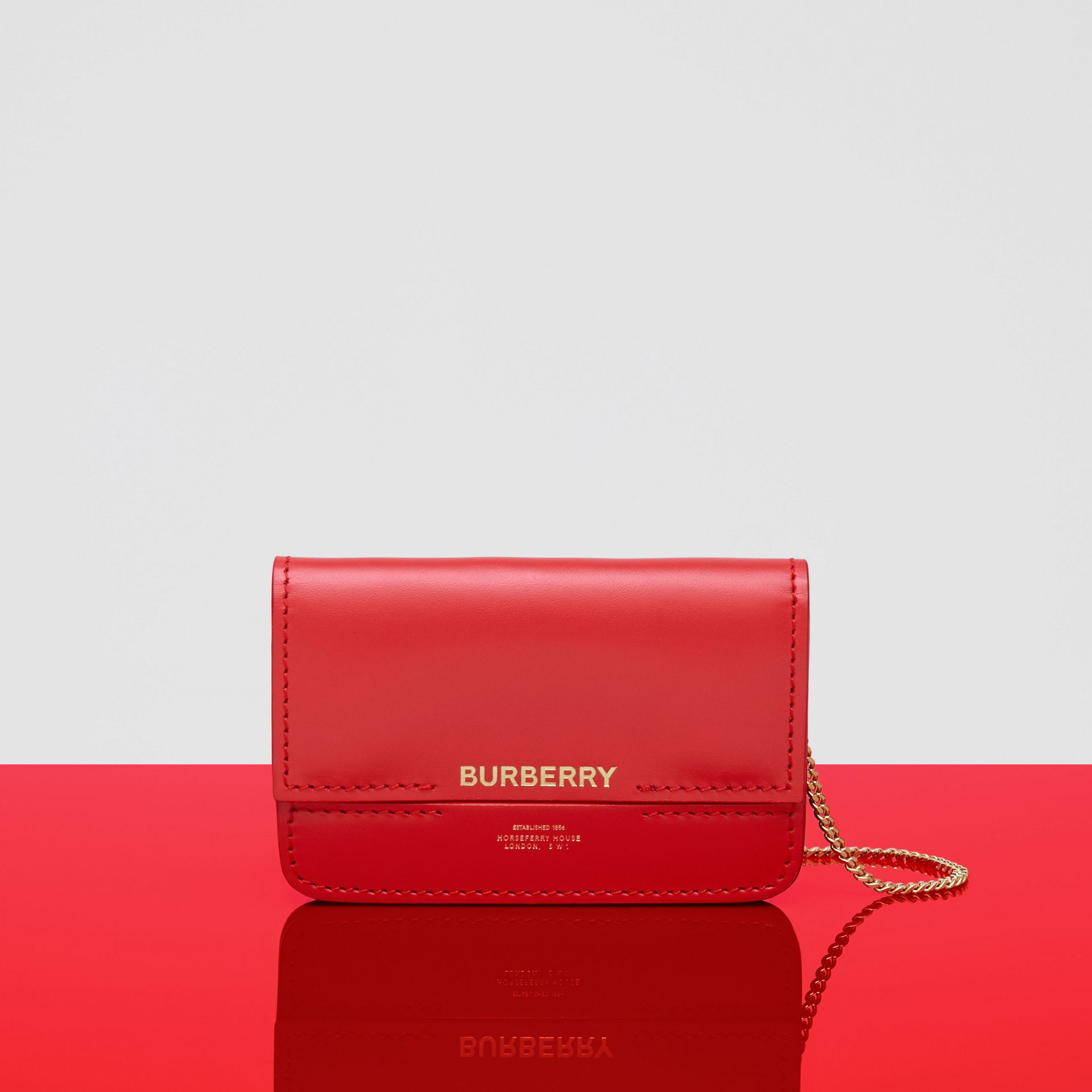 Two-tone Leather Card Case with Chain Strap in Red | Burberry - gallery image 9