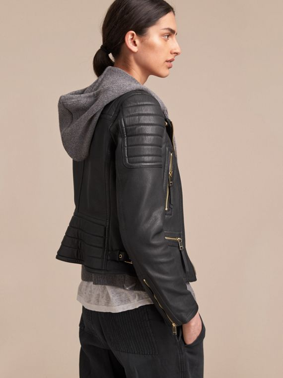 Quilted Panel Lambskin Biker Jacket - cell image 2