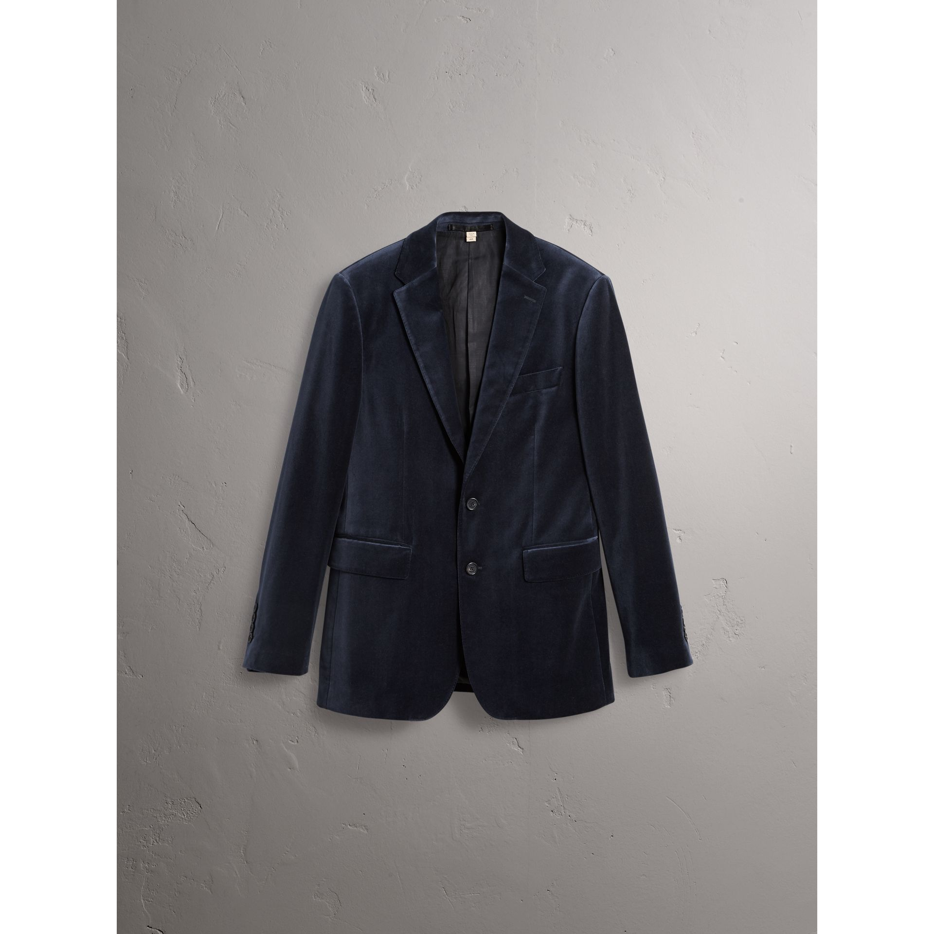 Soho Fit Velvet Tailored Jacket in Navy - Men | Burberry - gallery image 3