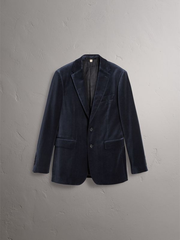 Soho Fit Velvet Tailored Jacket in Navy - Men | Burberry - cell image 3