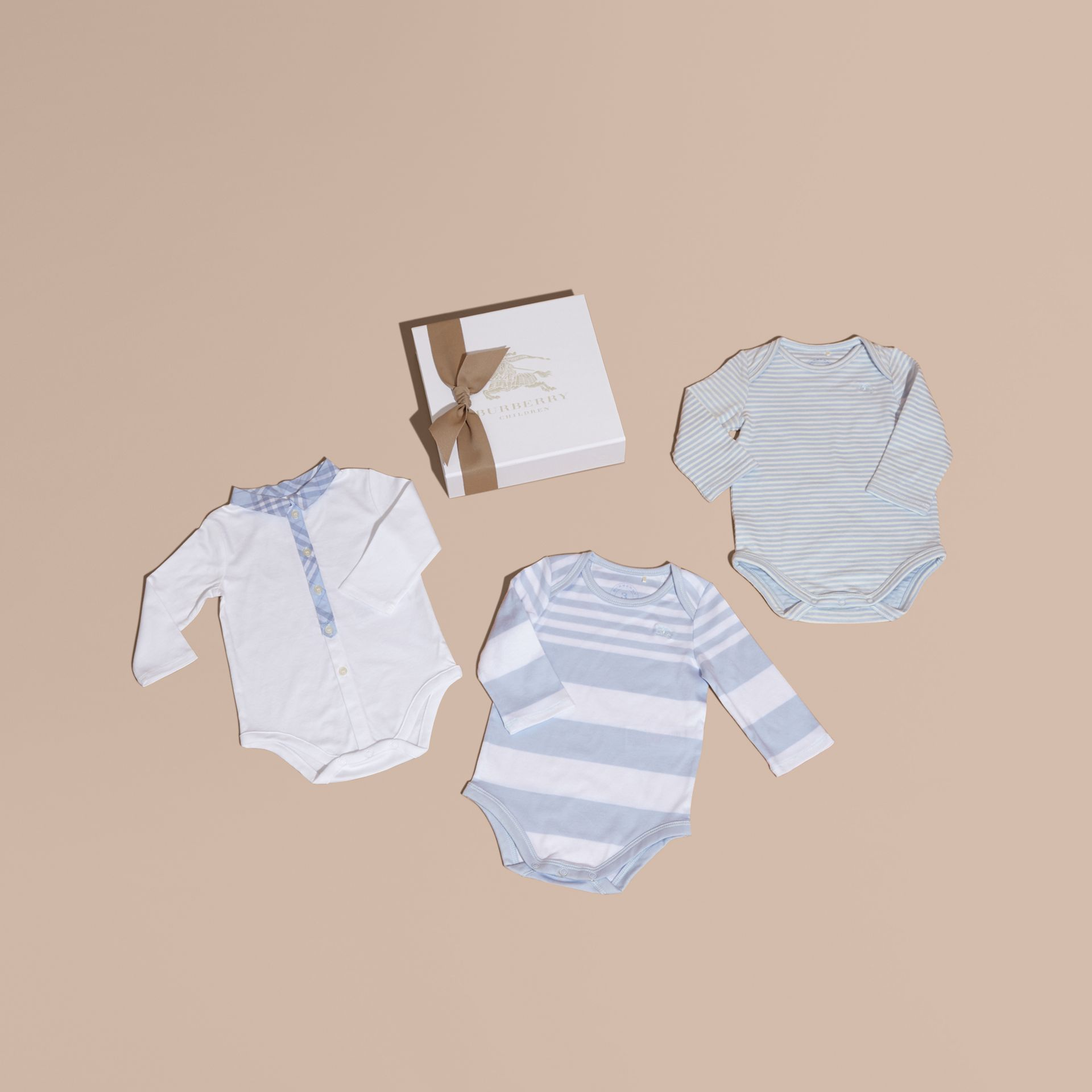 Cotton-Blend Three-piece Baby Gift Set in Ice Blue - Children | Burberry - gallery image 1
