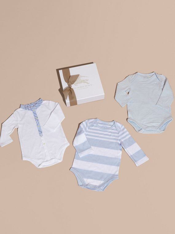 Cotton-Blend Three-piece Baby Gift Set in Ice Blue